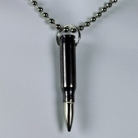 "Black Bullet Necklace 0.308 mm 3"" inches"
