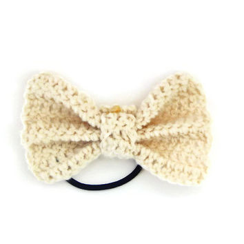 Cream Crocheted Hair Bow | ponytail holder | hairbow | hairbows | hair accessories | hair tie | hairband | hair piece | crochet hairpiece