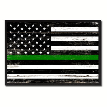Thin Green Line Support Border Patrol American USA Flag Vintage Canvas Print with Picture Frame Home Decor Man Cave Wall Art Collectible Decoration Artwork Gifts