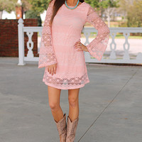 Maria Lace Dress, Lt. Pink