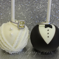 Bride and Groom Wedding Cake Pops (Tuxedo & Wedding Dress) 1 Dozen