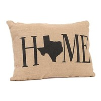 Texas Home Burlap Pillow