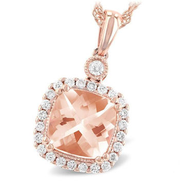 14K Rose Gold Cushion Cut Morganite and Diamond Halo Necklace