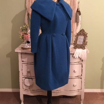 Exquisite! Lilli Ann Wool Coat, 50s Vintage Coat, Blue Tulip Coat, Paris Couture Coat, 1950s Glam Winter Coat, Chic Designer Coat, S/S/M