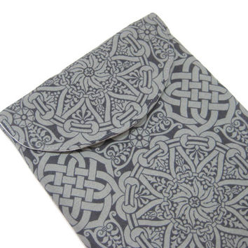 Gray iPad Cover, Charcoal Grey iPad sleeve, Celtic Knot Inspired Print iPad Case
