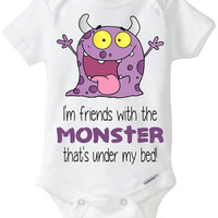 "Funny Baby Gift! Gerber Onesuit brand body suit - ""I'm friends with the MONSTER that's under my bed"" / Rhianna / Eminem / Hip Hop Music"