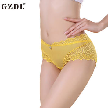 GZDL Women Lady Lace Mesh Floral Soft Sexy Underwear Briefs Panties Thong Knickers G-String Female Lingerie Free Shipping NY207