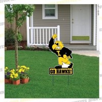 "University of Iowa Herky Yard Sign - 18""W x 24"" H, w/Spider Stake"