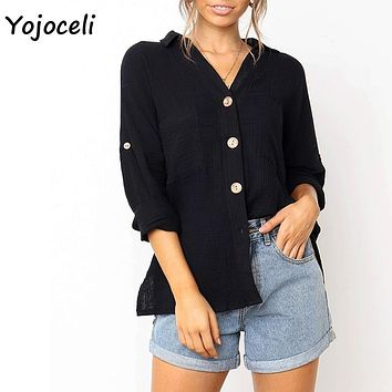 Yojoceli 2019 Womens new spring summer button down shirt