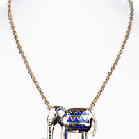 NECKLACE / ELEPHANT / LINK / METAL / EPOXY / 1 1/2 INCH DROP / 18 INCH LONG / NICKEL AND LEAD COMPLIANT