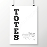 Printable Art Black And White Minimalist, Totes, Slang Definition Digital Download