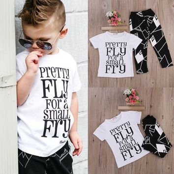 Boutique Kids Clothing 2pc Toddler Kids Baby Boy T-shirt Tops+Pants Summer Casual Outfits Clothing Set 2016