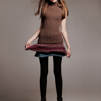 "Mini a-line ombre knit ruffle skirt ""ETHECO"" F/W 2013-2014 Alisa Design modern high fashion hand knit ethno womens teal purple brown striped"