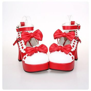 New 2017 Japanese Style Sweet Lolita Shoes Maid Cosplay Shoes Girls Princess Shoes High Heels Women's Shoes w/Bowknot Size 35-43