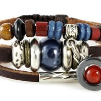 Durango Beaded Leather Zen Bracelet, Adjustable Wristband, in Gift Box