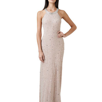 Adrianna Papell Petite Sleeveless Beaded Gown