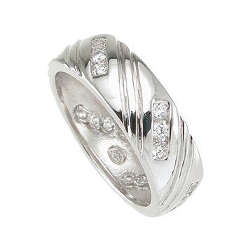 925 Sterling Silver Mens Wedding Band 0.5 Carat Weight - Size 12
