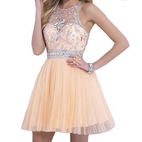 VILAVI A-line Round Brought Short Tulle Crystal Juniors Dresses