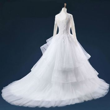 Sheer Scoop Neck Sequins Beaded Lace Appliques Wedding Dresses Ruffles Ball Gown Long Sleeves Wedding Dress