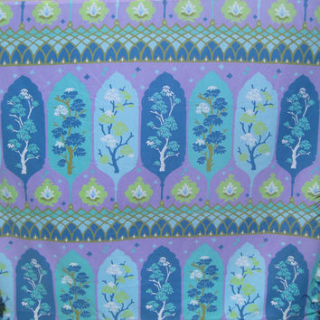 Vintage Cannon Bedding FULL Size Flat Sheet MOD Asian Motif Flower Tree Green Purple Turquoise Flower Power MOD Bedding Kids Bedding Used