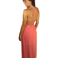 Coral Sequin Trim Maxi Dress – Tara