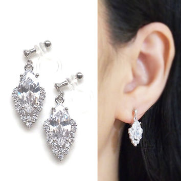 Bridal Clip On Earrings Cubic Zirconia Invisble Clip On Earrings, Wedding CZ Crystal Clip On Earrings, Non Pierced Earrings, Wedding Jewelry