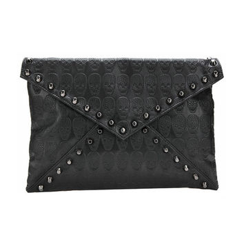 Women's PU Leather Messenger Bags Famous Designer Day Clutch Bag Black Skull Spiked Punk Style Crossbody Bag