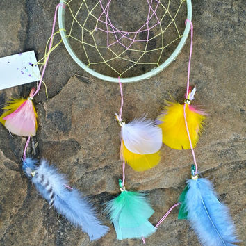 Dream Catcher, Handmade Yellow 6 Inch, Feathered Wall Hanging Ornament, Bedroom Decor, Mobile Wind Chimes