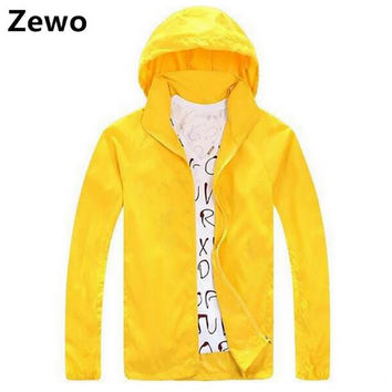 Zewo Plus Size Casual Zipper Jacket Coat Women Fashion 2017 Spring Autumn Waterproof Hooded Windbreaker Sun Clothing Men Coats