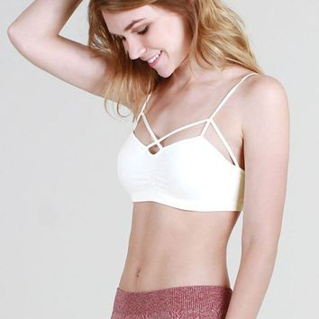 Criss Cross Strappy Front Bra Top in Ivory