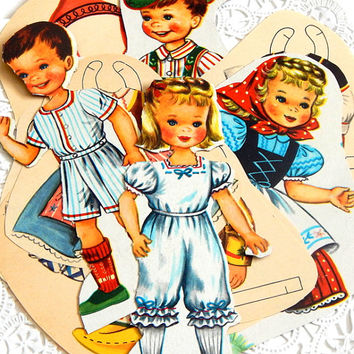 Vintage Paper Dolls. Story Book. Cut Out Dolls. Retro Paper Dolls. Vintage Toys. Mixed Media Supply. Scrapbooking. Art Doll. Ephemera Pack.