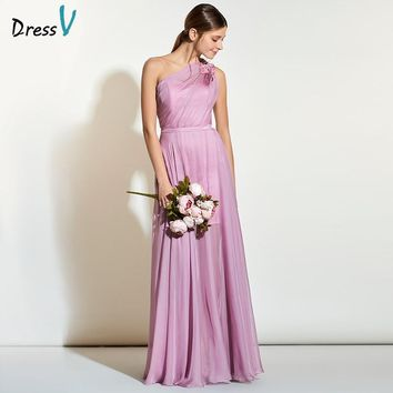Dressv cameo a line long bridesmaid dress one shoulder sleeveless chiffon wedding party dress elegant long maid of honor dresses