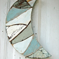 Blue Moon Reclaimed Wood Mosaic Art Distressed