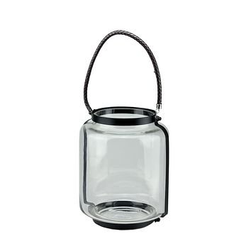 "18"" Clear Glass Hurricane Pillar Candle Lantern with Jet Black Metal Frame"