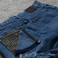 Vintage High Waisted Cutoff Studded Shorts by csrclothing on Etsy