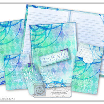 Journal Kit, Scrapbook Kit, DIY Printable Stationery, Journaling Cards, Paper Craft, Craft Supplies - Blue Daisy