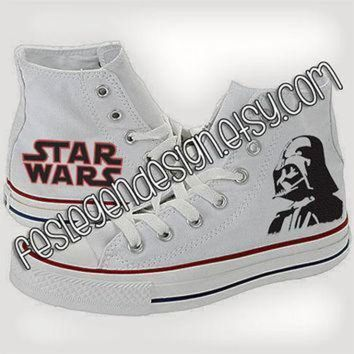 DCCK1IN darth vader star wars custom converse painted shoes