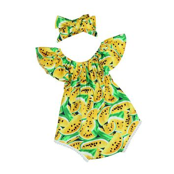 Baby girls set Infant Baby Girl Off Shoulder Print Romper Jumpsuit Headband Outfit Clothes Set kids