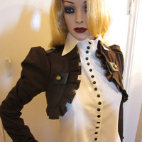 Brown Long sleeves pirate steampunk  bolero jacket