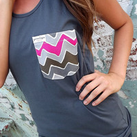 Gray Tank w/ Wavy Pocket | The Rage