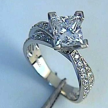 1.88ct F-SI1 Star Wars Princess Diamond  Engagement Ring 18kt JEWELFORME BLUE GIA certified