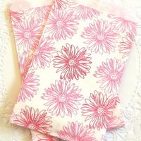 Pink Flower Paper Bags. 4x6 Paper Bag. Small Paper Bag. Flat Paper Bag. Printed Paper Bag. Pink Favor Bags. Journal Supply. Gebera Daisies.