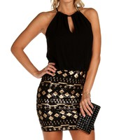 Sale-black Tribal Sequin Dress