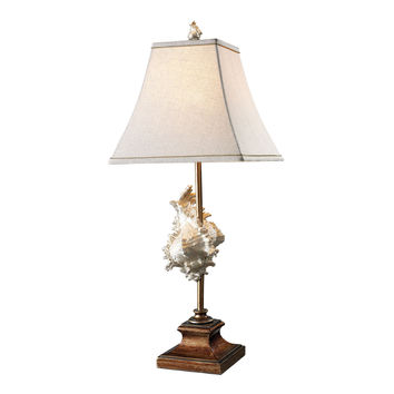 Delray Table Lamp in Conch Shell And Bronze