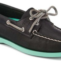 Sperry Top-Sider Authentic Original Color Pop 2-Eye Boat Shoe BlackLeather/Jade, Size 8M  Women's