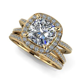 Free Center Stone! Diamond Bridal Set - Diamond Halo Split Shank Engagement Ring - Cushion Cut Ring