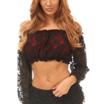 Red w/Black Lace Overlay Long Sleeve Peasant Top
