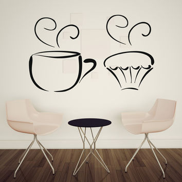 Vinyl Decal Kitchen and Food Decor Wall Sticker Tea Cup Delicious Sweet Cupcakes Decorative (n408)