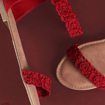Suede Stitched Floral Ankle Strap Flat Sandal