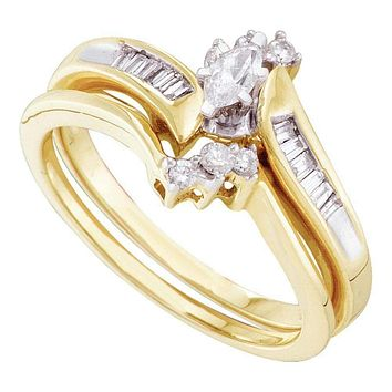 10kt Yellow Gold Womens Marquise Diamond Bridal Wedding Engagement Ring Band Set 1/4 Cttw - FREE Shipping (US/CAN)